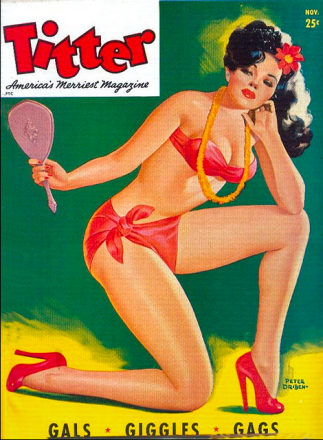 Pin-up girl by Driben for Titter Magazine. Used on Hot Mama Blusher - Makeup Museum